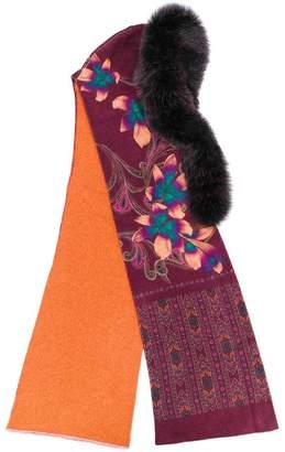 Etro fur-trim floral embroidered scarf