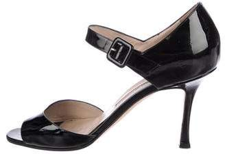 Manolo Blahnik Patent Leather Open-Toe Sandals
