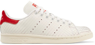Adidas Originals - Stan Smith Suede-trimmed Laser-cut Leather Sneakers - White $95 thestylecure.com