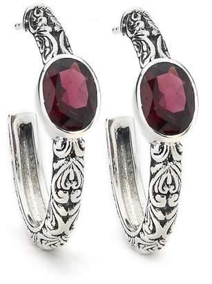 Samuel B Jewelry Sterling Silver Oval Rhodolite Faceted Paisley Hoop Earrings