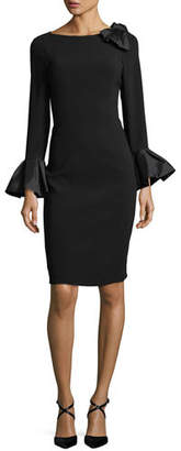 Rickie Freeman For Teri Jon Bell-Sleeve Crepe Sheath Dress