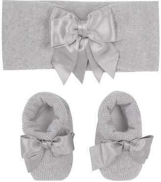 La Perla Knitted Bow Booties and Headband Set