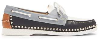 Christian Louboutin Steckel Stud Embellished Leather Deck Shoes - Mens - Multi