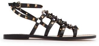 Valentino Rockstud Cage Leather Gladiator Sandals - Womens - Black