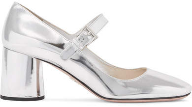 Prada - Metallic Leather Mary Jane Pumps - Silver