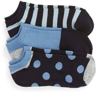 Kate Spade 3-Pack Stripe Dot No-Show Socks