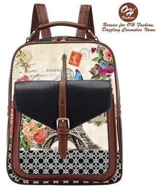 OH Fashion Handbag Backpack European Dream Paris Design Rucksack Travel Bag Color Black with City Designs