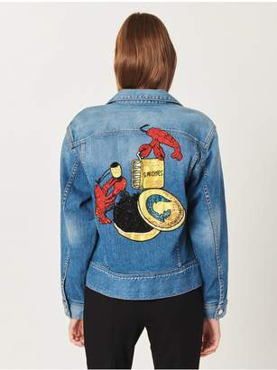 Oscar de la Renta Lobster Embroidered Denim Jacket