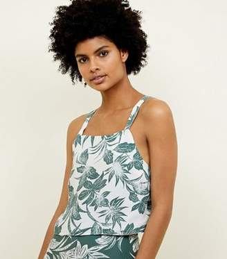New Look White Tropical Leaf Print Crop Top