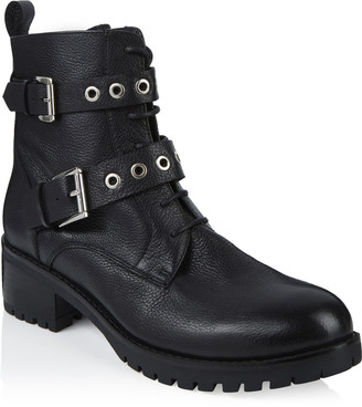 Long Tall Sally LTS Tilly Lace Up Leather Biker Boot