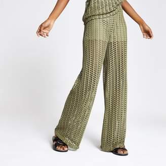 River Island Womens Khaki crochet wide leg trousers