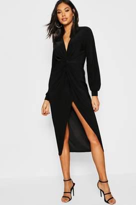 boohoo Tall Disco Slinky Twist Front Wrap Dress