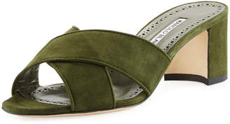 Manolo Blahnik Otawi Crisscross Suede Slide Sandals