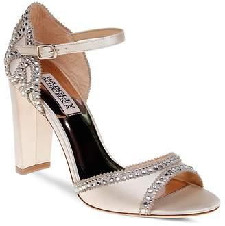 Badgley Mischka Kelly Embellished Satin High Heel Sandals