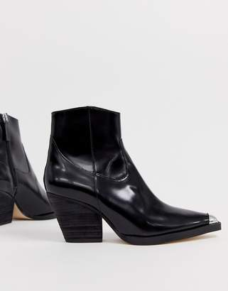 aa58f0679fb3 Office Arriba black leather western mid heeled ankle boots with metal toe  cap