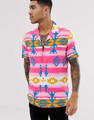 Asos Design DESIGN Festival relaxed aztec printed viscose shirt with revere collar