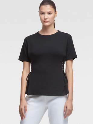 DKNY Tee With Lace-Up Sides