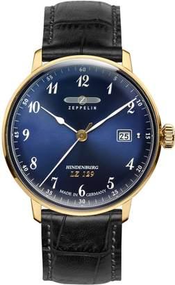 Zeppelin Men's 35mm Leather Band Steel Case Swiss Quartz Watch 7044-3