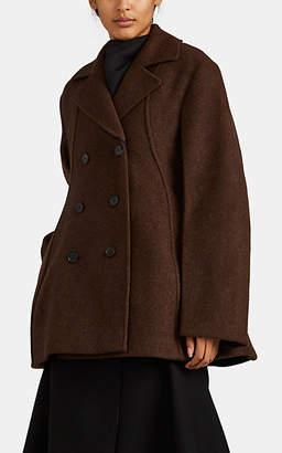 Jil Sander Women's Virgin Wool Double-Breasted Peacoat - Brown