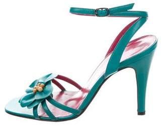 Ungaro Floral Ankle-Strap Sandals