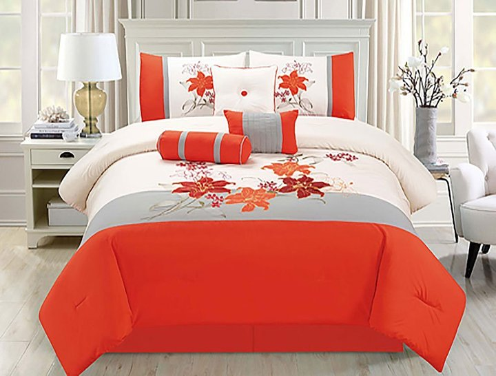 home must haves Homemusthaves 7 PC Comforter Set Floral Modern Style with Bed Skirt Pillow Shams Square Pillow Breakfast Cushion Neck Roll