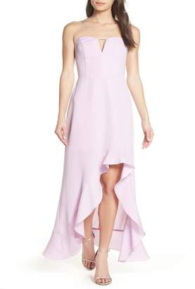 Harlyn Strapless High/Low Ruffle Hem Gown