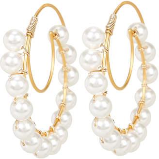 Swarovski Beck Jewels Lune Pearl Hoop Earrings