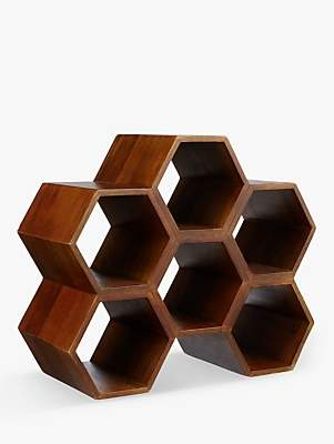 John Lewis & Partners Honeycomb Mango Wood Wine Rack, 6 Bottle, Natural