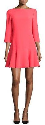 Kate Spade New York 3/4-Sleeve Bateau-Neck Flounce Dress, Geranium $348 thestylecure.com
