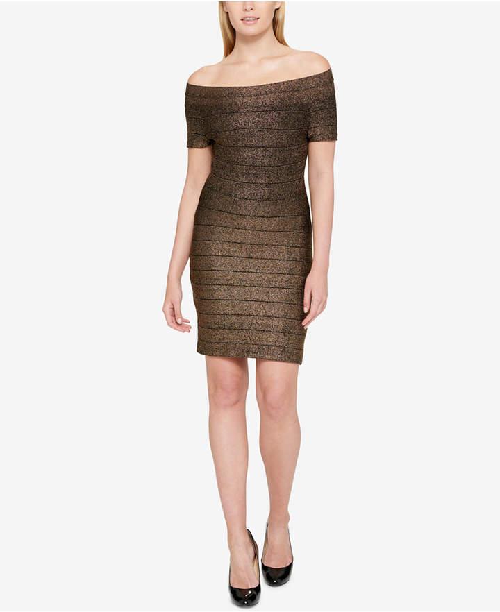 Guess Off-The-Shoulder Metallic Bandage Dress