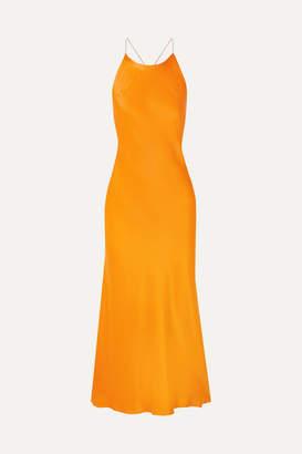 Rosetta Getty Open-back Satin Midi Dress - Orange