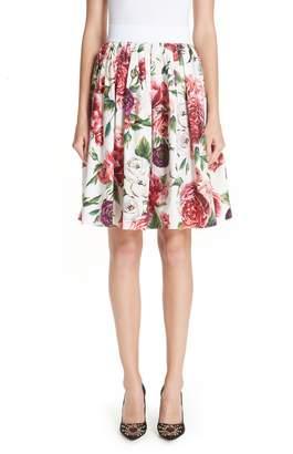 Dolce & Gabbana Peony Print Cotton Poplin Skirt