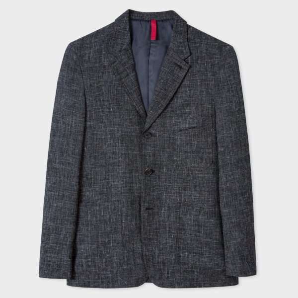 Paul Smith Men's Charcoal Grey Crosshatch-Textured Red Ear Blazer