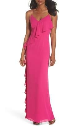 Vince Camuto Asymmetrical Ruffle Column Gown