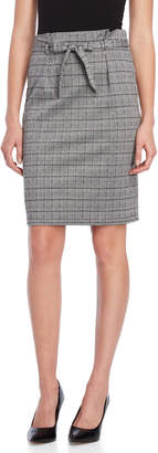 Max Studio Checked Plaid Belted Skirt