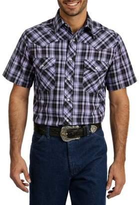 Wrangler Men's and Big Men's Short Sleeve Plaid Western Shirt