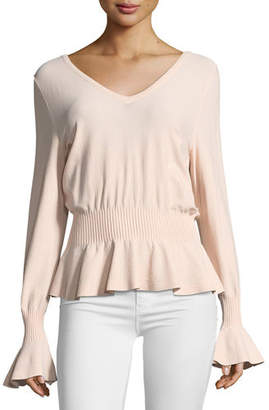 Milly Pintuck V-Neck Knit Top
