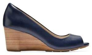 Cole Haan Women's Sadie Open Toe Leather Wedge Pumps - Blue - Size 11