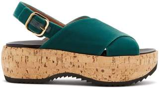 Marni Cross Strap Slingback Velvet Flatform Sandals - Womens - Green