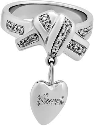Gucci Estate 18k White Gold Diamond Heart Ribbon Ring, Size 4