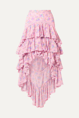 LoveShackFancy Elle Tiered Asymmetric Crochet-trimmed Floral-print Cotton-crepon Skirt - Pink
