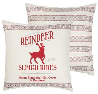 """Primitives by Kathy Reindeer Sleigh Rides Pillow - 12\""""x12\"""""""