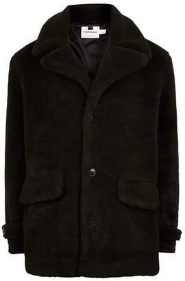 Topman Mens Black Faux Fur Pea Coat