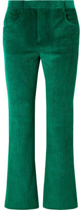 Isabel Marant Mereo Cotton-corduroy Straight-leg Pants - Forest green