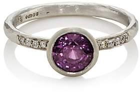 Malcolm Betts Women's Purple Sapphire & White Diamond Ring-Silver