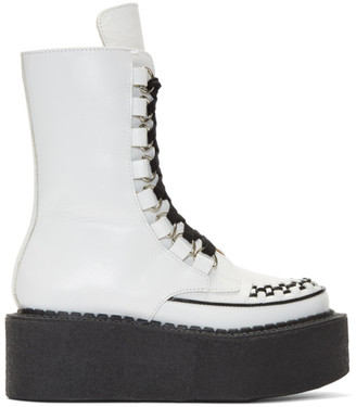 Junya Watanabe White Platform Creeper Boots $1,235 thestylecure.com