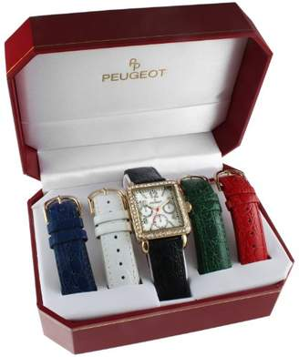 Peugeot Women's 14k Gold Plated Crystal Bezel Five Easy Release Interchangeable Leather Bands Watch Gift Set 677G