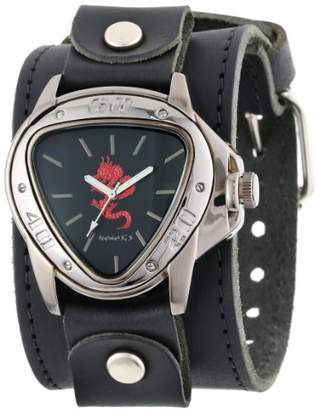 Nemesis Men's LBB928R Ion-Plated Black Case with Red Dragon Leather Cuff Watch