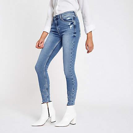 Womens Blue Amelie sequin embellished skinny jeans