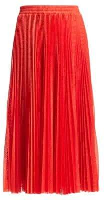 RED Valentino Women's Pleated Perforated Tulle Skirt - Deep Red - Size Large